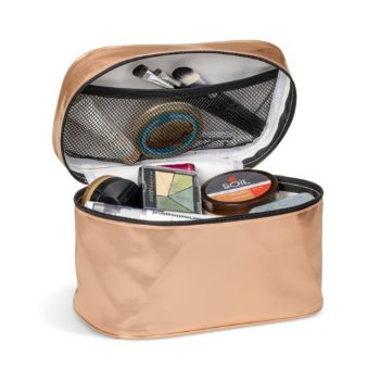 Metallic PU Toiletry Bag - Rose Gold